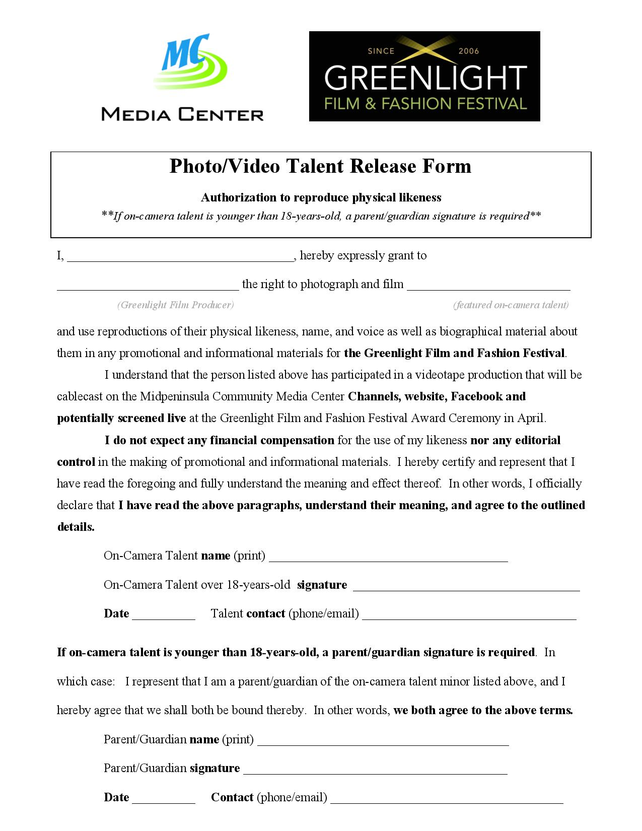 Greenlight 2014 Film Talent Release Forms | MidPen Media Center
